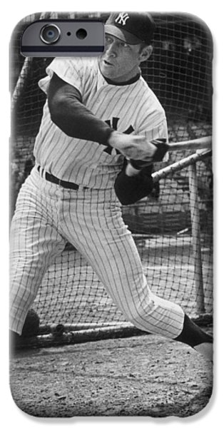 American League iPhone Cases - Mickey Mantle Poster iPhone Case by Gianfranco Weiss