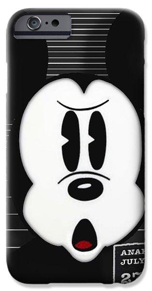 Mickey Mouse Disney Mug Shot iPhone Case by Tony Rubino