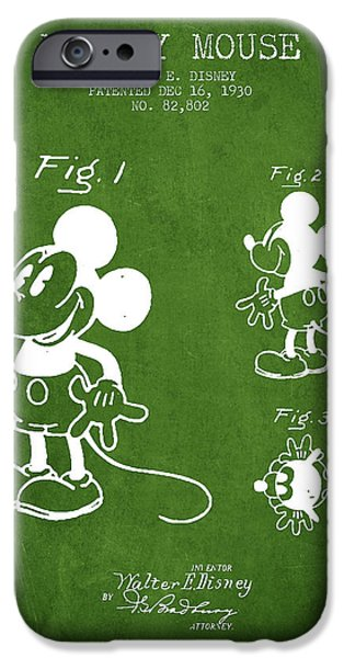 Animation iPhone Cases - Mickey Mouse patent Drawing from 1930 - Green iPhone Case by Aged Pixel