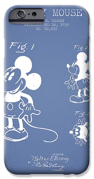 Animation iPhone Cases - Mickey Mouse patent Drawing from 1930 - Light Blue iPhone Case by Aged Pixel