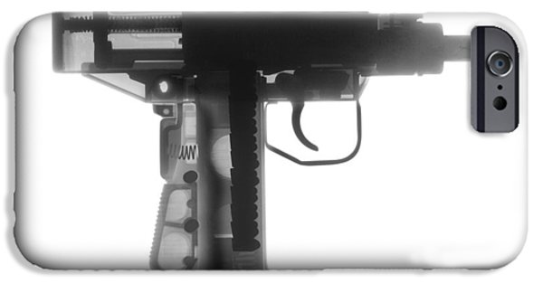 Weapon iPhone Cases - Micro Uzi X Ray Photograph iPhone Case by Ray Gunz