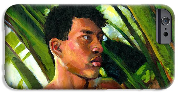 Figures Paintings iPhone Cases - Micronesia iPhone Case by Douglas Simonson