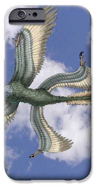 Microraptor iPhone Case by Spencer Sutton
