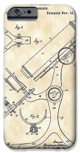 Magnification iPhone Cases - Microscope Patent 1886 - Vintage iPhone Case by Stephen Younts