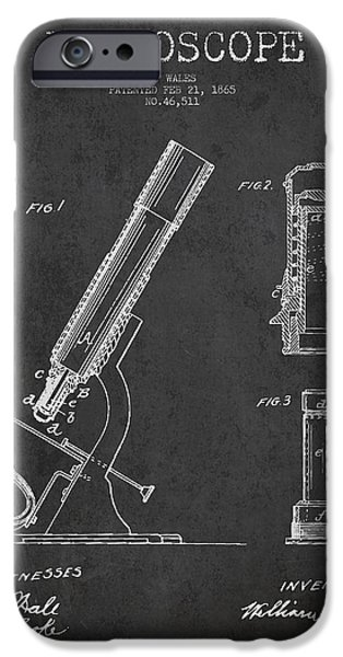 Microscope iPhone Cases - Microscope Patent Drawing From 1865 - Dark iPhone Case by Aged Pixel
