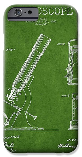 Microscope iPhone Cases - Microscope Patent Drawing From 1865 - Green iPhone Case by Aged Pixel