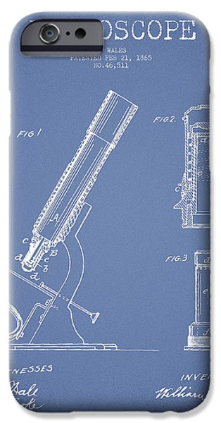 Microscope iPhone Cases - Microscope Patent Drawing From 1865 - Light Blue iPhone Case by Aged Pixel