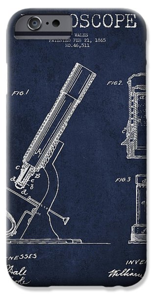 Microscope iPhone Cases - Microscope Patent Drawing From 1865 - Navy Blue iPhone Case by Aged Pixel