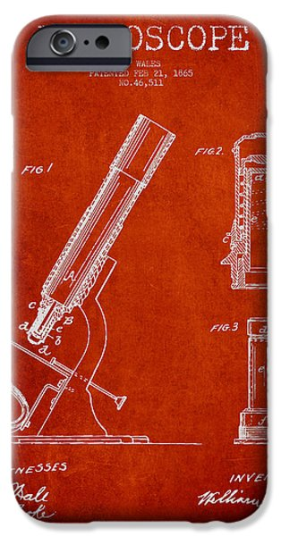 Microscope iPhone Cases - Microscope Patent Drawing From 1865 - Red iPhone Case by Aged Pixel