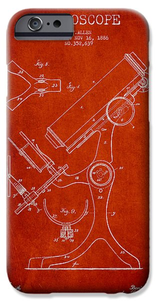 Microscope iPhone Cases - Microscope Patent Drawing From 1886 - Red iPhone Case by Aged Pixel