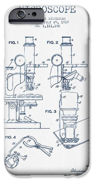 Microscope iPhone Cases - Microscope Patent Drawing From 1919 - Blue Ink iPhone Case by Aged Pixel