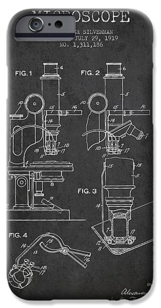Microscope iPhone Cases - Microscope Patent Drawing From 1919- Dark iPhone Case by Aged Pixel