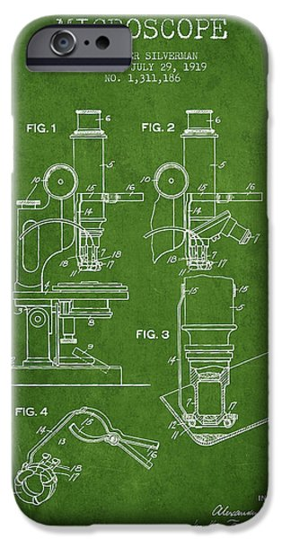 Microscope iPhone Cases - Microscope Patent Drawing From 1919- Green iPhone Case by Aged Pixel