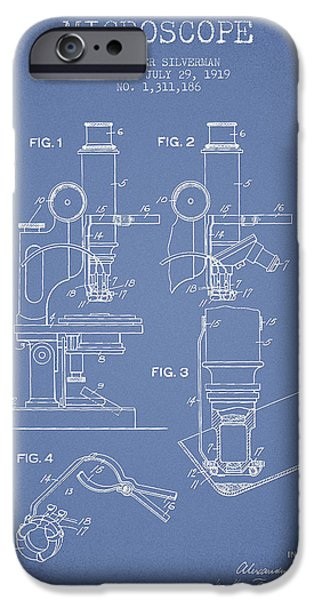 Microscope iPhone Cases - Microscope Patent Drawing From 1919- Light Blue iPhone Case by Aged Pixel