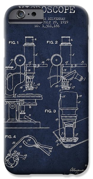 Microscope iPhone Cases - Microscope Patent Drawing From 1919- Navy Blue iPhone Case by Aged Pixel