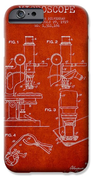 Microscope iPhone Cases - Microscope Patent Drawing From 1919- Red iPhone Case by Aged Pixel