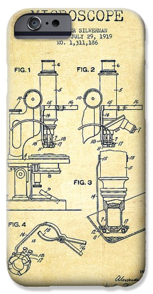 Microscope iPhone Cases - Microscope Patent Drawing From 1919- Vintage iPhone Case by Aged Pixel