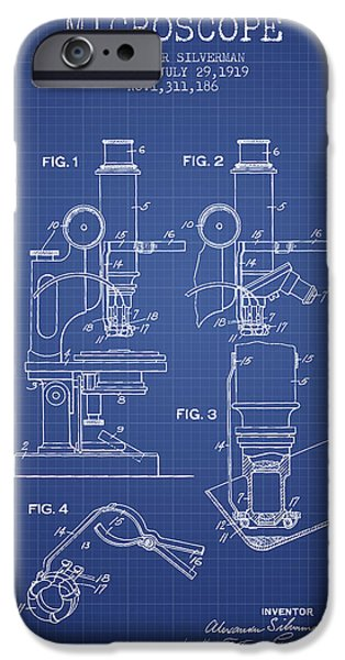 Microscope iPhone Cases - Microscope Patent From 1919 - Blueprint iPhone Case by Aged Pixel