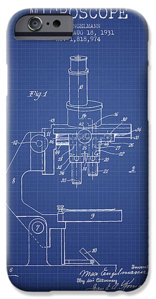 Chemistry iPhone Cases - Microscope Patent From 1931 - Blueprint iPhone Case by Aged Pixel