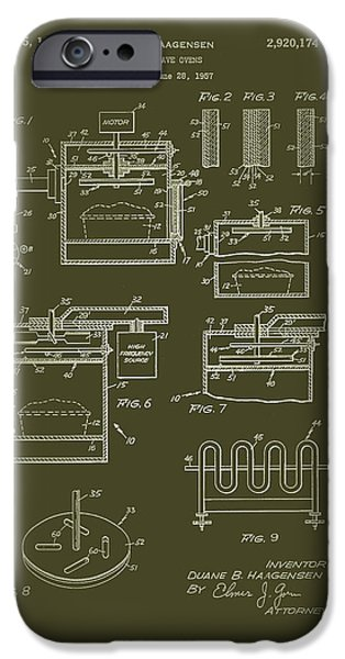 Electric Drawings iPhone Cases - Microwave Oven Patent 1960 iPhone Case by Mountain Dreams