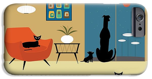 Black Dog Digital Art iPhone Cases - Mid Century Dogs and Cats iPhone Case by Donna Mibus