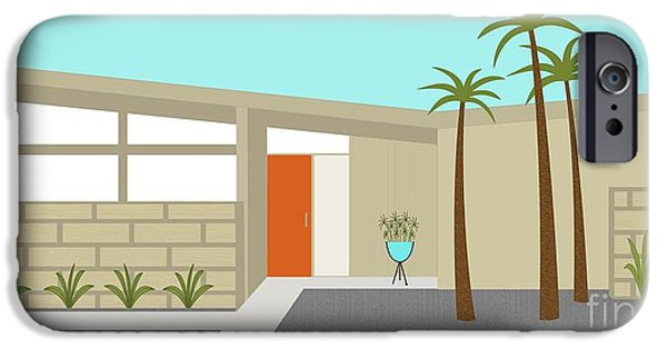 Atomic iPhone Cases - Mid Century Modern House 1 iPhone Case by Donna Mibus