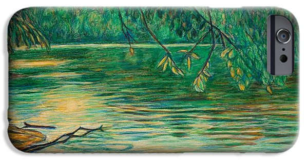 Evening Pastels iPhone Cases - Mid-Spring on the New River iPhone Case by Kendall Kessler