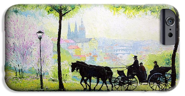 Oil On Canvas iPhone Cases - Midday Walk in the Petrin Gardens Prague iPhone Case by Yuriy Shevchuk