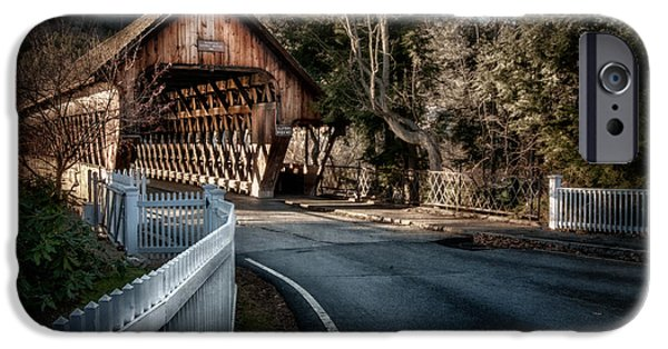 Duo Tone iPhone Cases - Middle Bridge - Woodstock Vermont iPhone Case by Thomas Schoeller