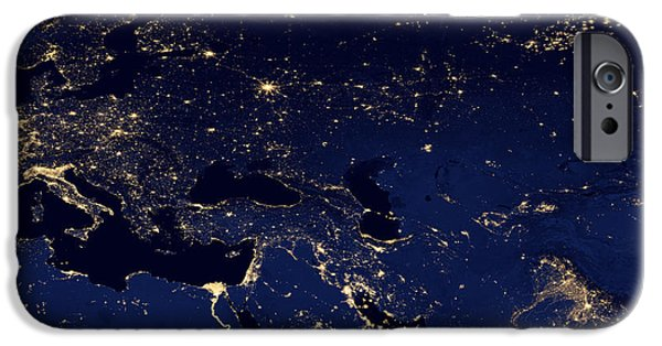 Iraq iPhone Cases - Middle East at Night iPhone Case by Celestial Images