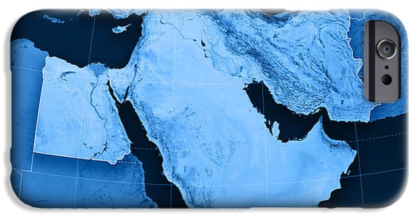 Middle East iPhone Cases - Middle East Topographic Map iPhone Case by Frank Ramspott