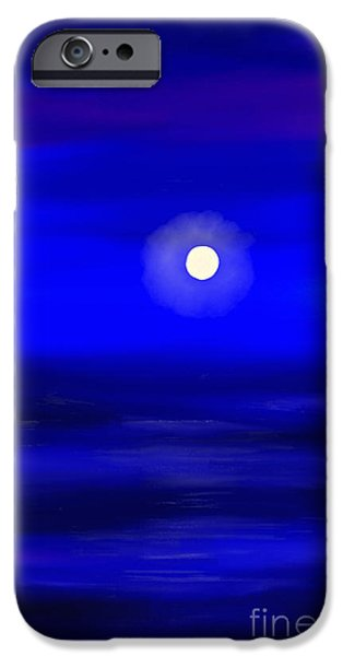 Sea Moon Full Moon Paintings iPhone Cases - Midnight iPhone Case by Anita Lewis
