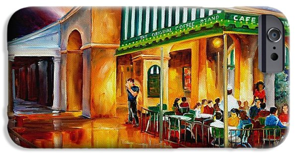 Cafes Paintings iPhone Cases - Midnight at the Cafe Du Monde iPhone Case by Diane Millsap