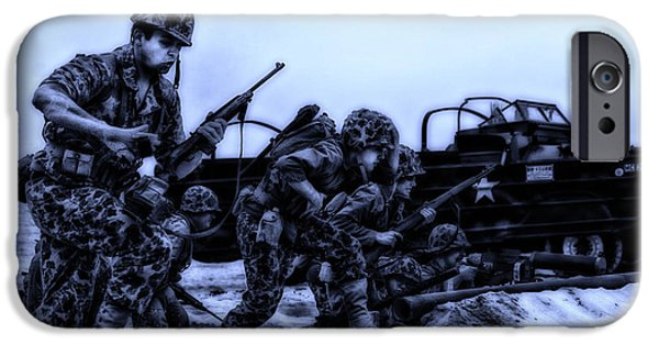 Weapon iPhone Cases - Midnight Battle Lets Go Marines iPhone Case by Thomas Woolworth