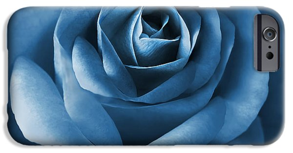 Monotone iPhone Cases - Midnight Blue Rose Flower iPhone Case by Jennie Marie Schell