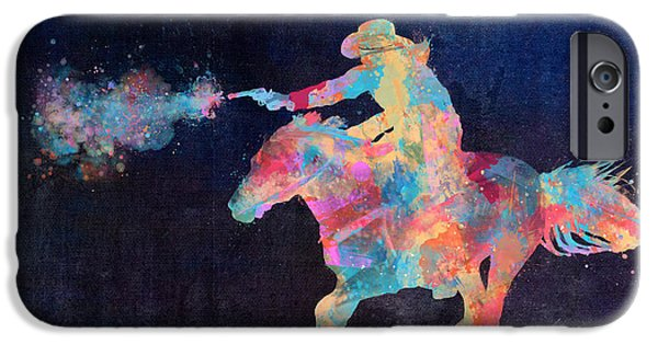 Multicolor iPhone Cases - Midnight Cowgirls Ride Heaven Help the Fool Who Did Her Wrong iPhone Case by Nikki Marie Smith