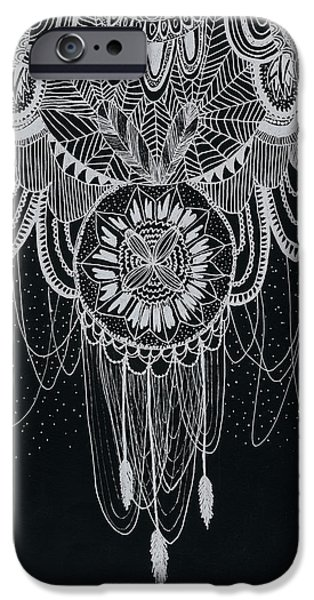 Inverted Drawings iPhone Cases - Inverted Dream Caticher iPhone Case by Grace Bell