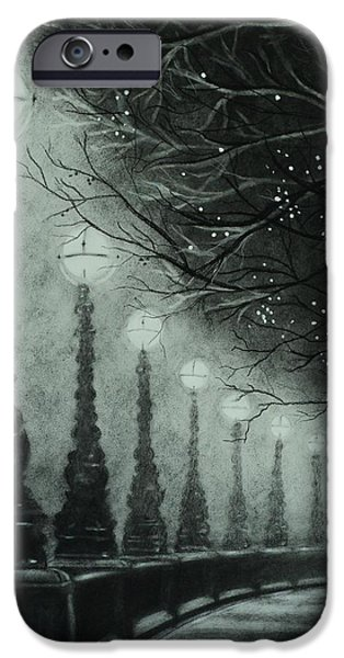 Eerie Drawings iPhone Cases - Midnight Dreary iPhone Case by Carla Carson