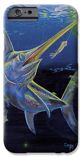 Swordfish iPhone Cases - Midnight Encounter Off0023 iPhone Case by Carey Chen