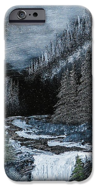 Bob Ross Paintings iPhone Cases - Midnight Falls iPhone Case by Dave Atkins