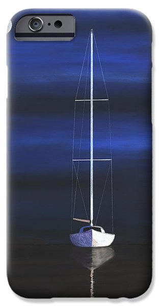 Sailboats Pastels iPhone Cases - Midnight iPhone Case by George Burr