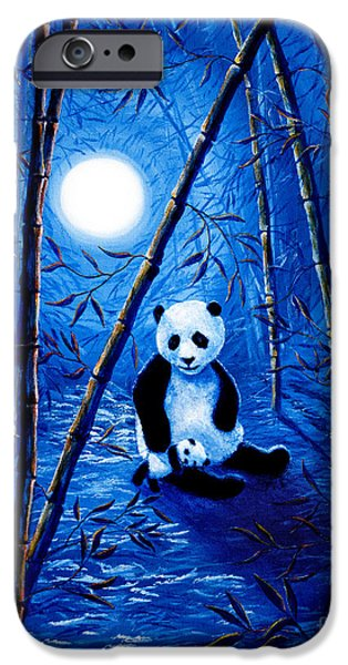 Surreal Landscape iPhone Cases - Midnight Lullaby in a Bamboo Forest iPhone Case by Laura Iverson