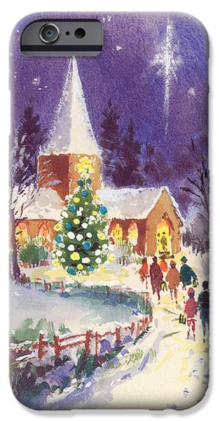 Gathering Photographs iPhone Cases - Midnight Mass Gouache iPhone Case by Stanley Cooke