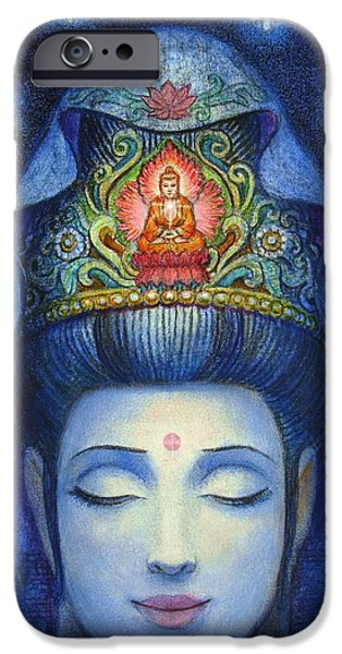 Buddhism Paintings iPhone Cases - Midnight Meditation Kuan Yin iPhone Case by Sue Halstenberg