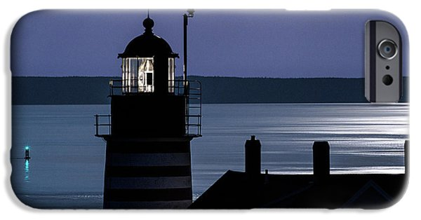 West Quoddy Head Lighthouse iPhone Cases - Midnight Moonlight on West Quoddy Head Lighthouse iPhone Case by Marty Saccone