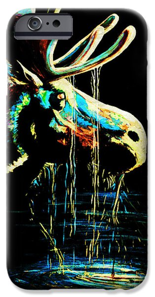 Drips Paintings iPhone Cases - Midnight Moose Drool  iPhone Case by Teshia Art