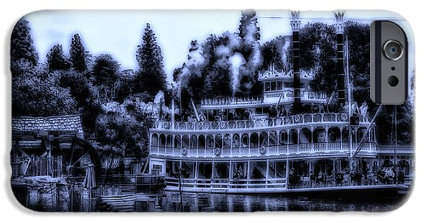 Beauty Mark iPhone Cases - Midnight On The Mark Twain Riverboat Frontierland Disneyland iPhone Case by Thomas Woolworth
