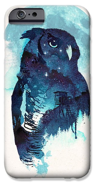 Forest Mixed Media iPhone Cases - Midnight Owl iPhone Case by Robert Farkas