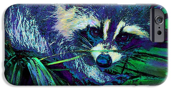 Raccoon Digital Art iPhone Cases - Midnight Racoon iPhone Case by Jane Schnetlage