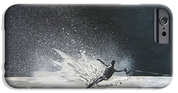 Skiing Action Paintings iPhone Cases - Midnight Ski iPhone Case by Eric Johansen
